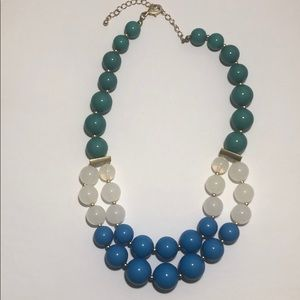 Green, white, blue beads necklace.